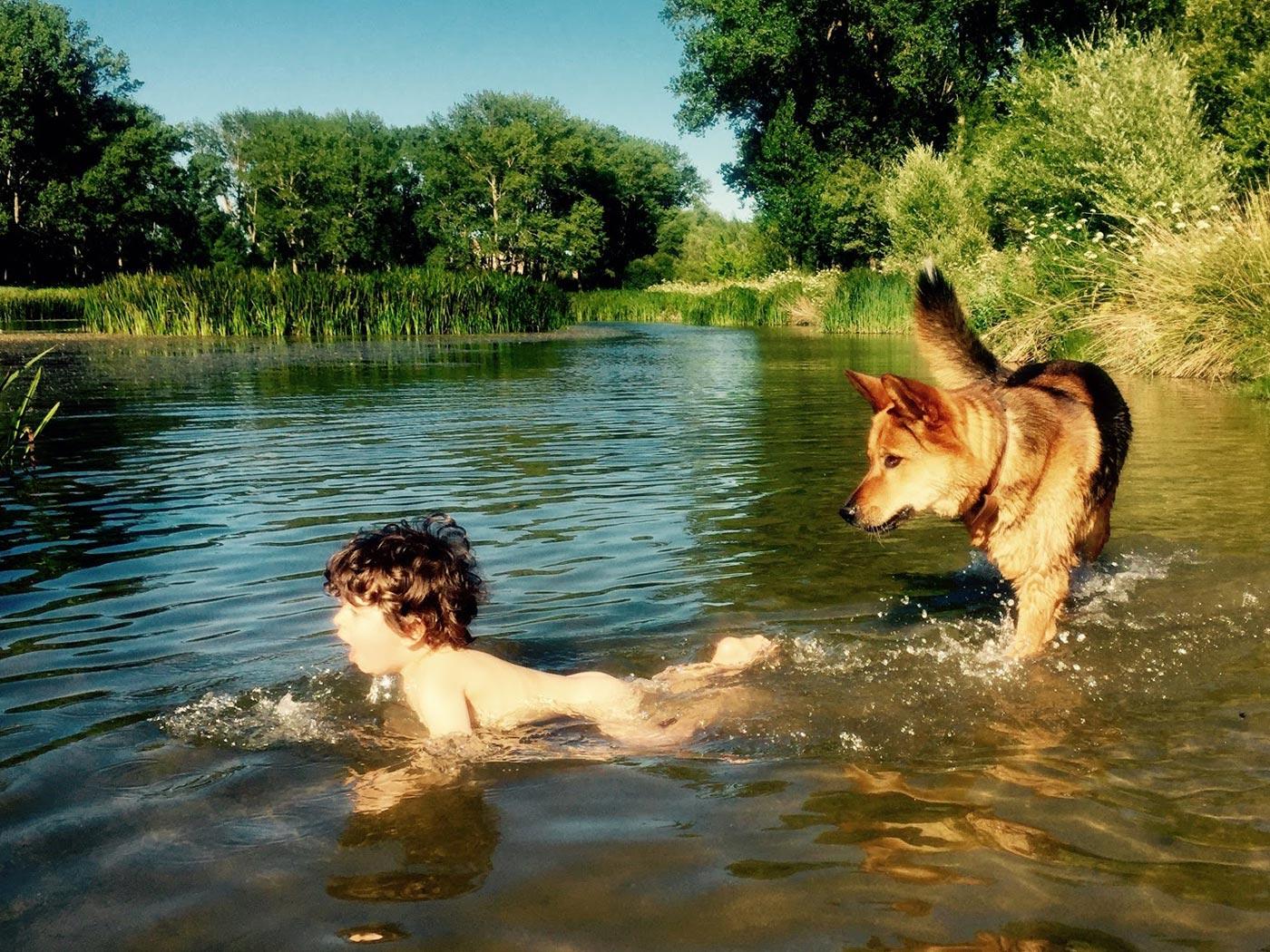 niño y perro bañandose en el rio